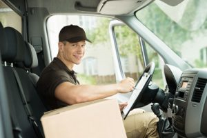 Delivery driver with package